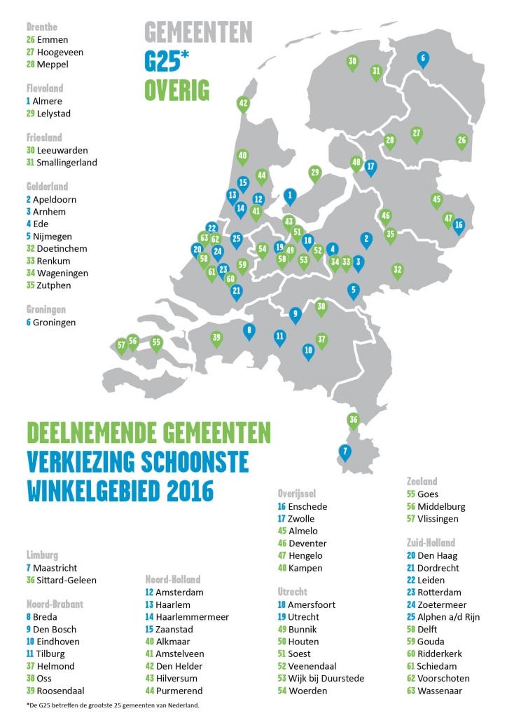 Voor de verkiezing zijn afgelopen maanden 558 winkelgebieden onderzocht in 63 verschillende gemeenten.