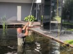 de werkplek van glazenwasser Jeffrey van HRS Hoogbouw Reinigingsservice